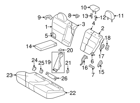 Rear Seat Components For 2008 Subaru Outback