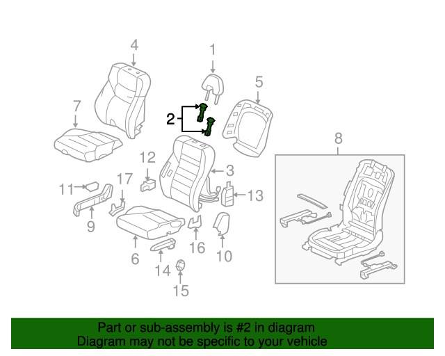 Guide, Headrest *NH598L* (Atlas Gray)