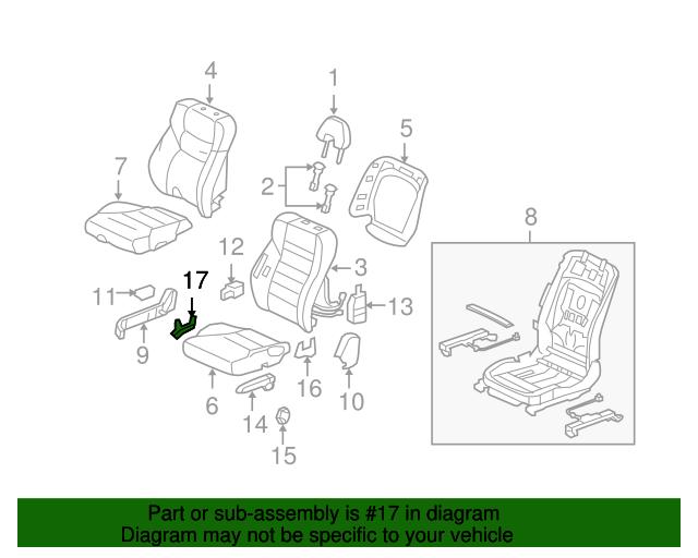 Right Rear Honda Genuine 82131-SWB-A01ZA Seat Cushion Trim Cover