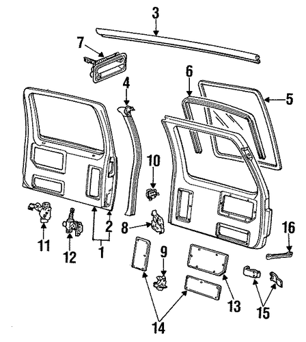 Back Door For 1993 Gmc Suburban C1500