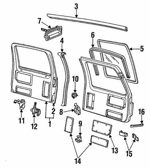 Door Components For 1992 Chevrolet Suburban K1500