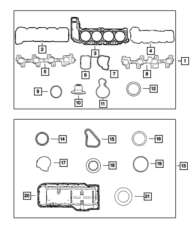 P Left Mopar 53021843AA Engine Valve Cover Gasket-VIN