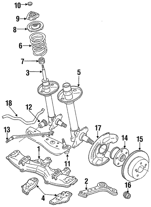 Genuine Oem Suspension Components Parts For 1991 Toyota Cressida