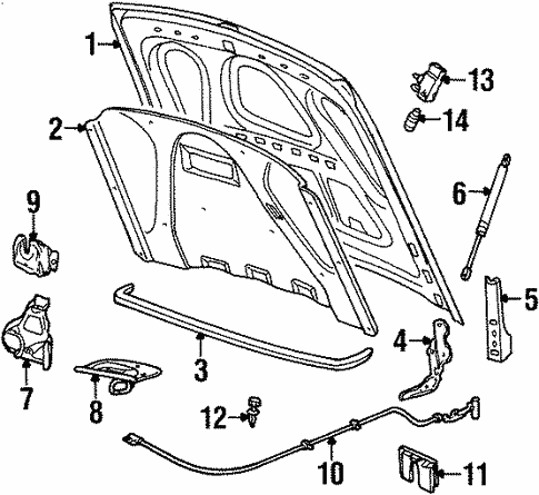 Hood Components For 2000 Lincoln Town Car
