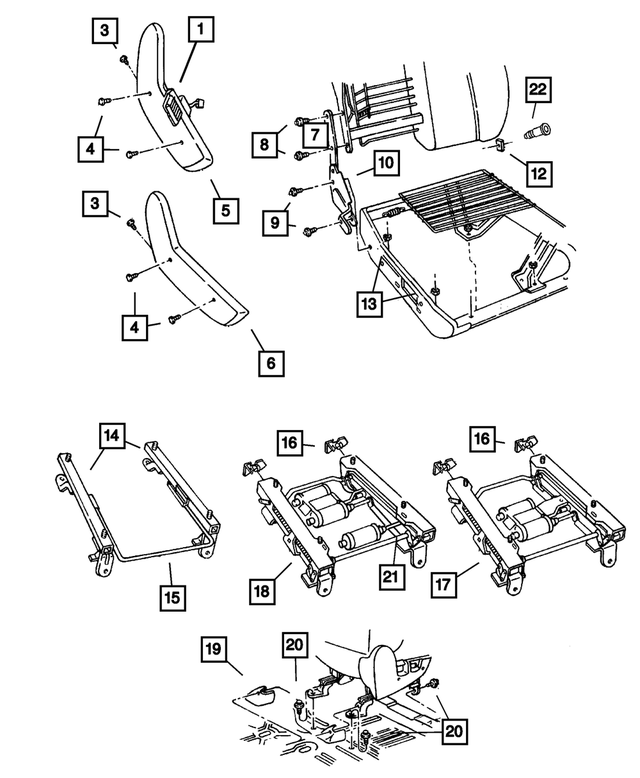 Manual Seat Adjuster, Right, Outboard - Mopar (5015564AA)