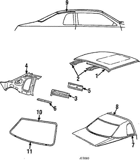 Roof Back Glass For 1984 Ford Thunderbird