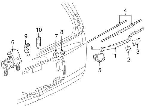 Rear Wiper Components Scat on Buick Rainier Accessories