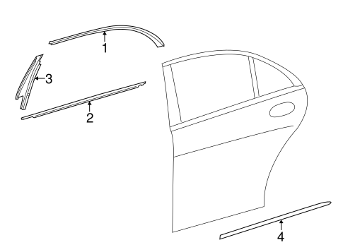 Exterior Trim Rear Door For 2016 Mercedes Benz S 600 Mb Parts Exp