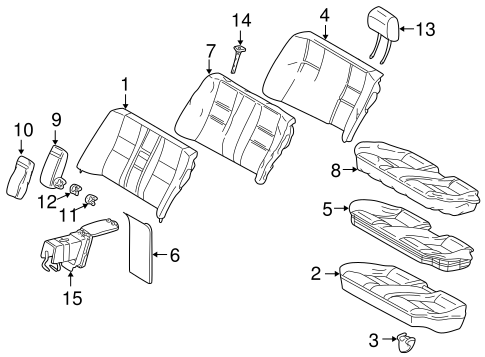 Rear Seat Components for 2002 Mercedes-Benz C 240 #1
