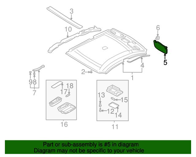 Genuine Hyundai 85201-3D420-OI Sun Visor Assembly Left
