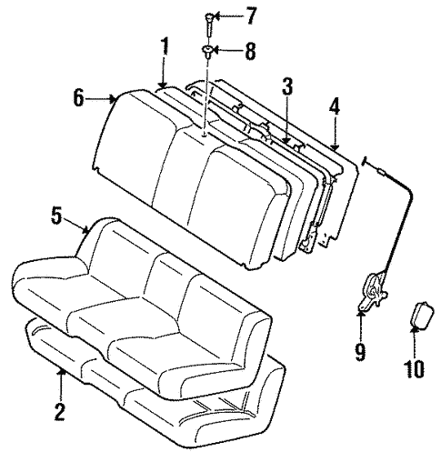 Genuine Oem Rear Seat Components Parts For 1996 Toyota Supra Base