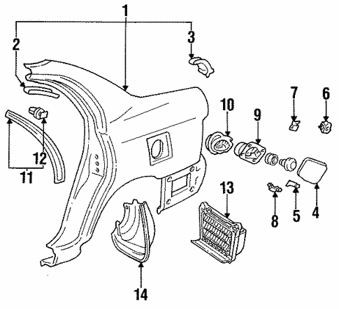 Quarter Panel Components For 1996 Toyota Corolla