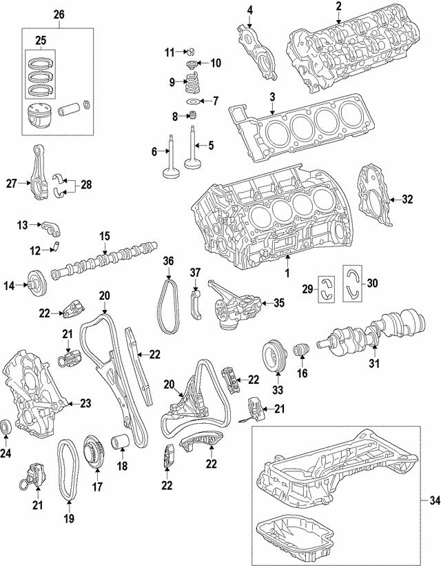 Engine Camshaft - Mercedes-Benz (278-050-22-00)
