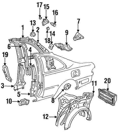 genuine oem inner structure parts for 1995 toyota camry le