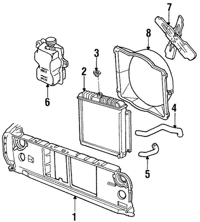 1986 1990 Dodge Radiator Support 4741865