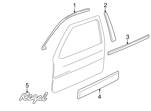 Exterior Trim Front Door Parts For 1999 Buick Regal Gm