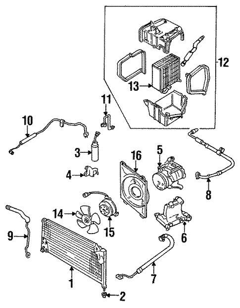 Condenser Compressor Lines For 1990 Subaru Legacy