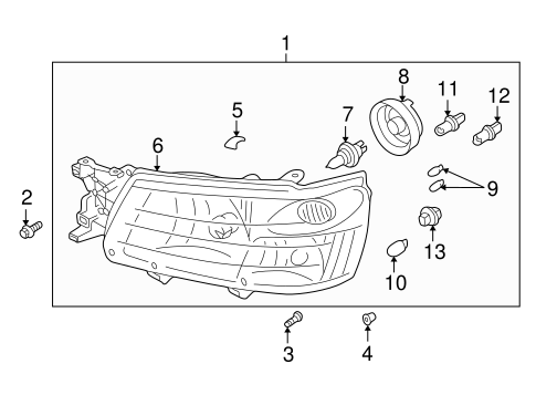 Headlamp Components for 2004 Subaru Forester #0