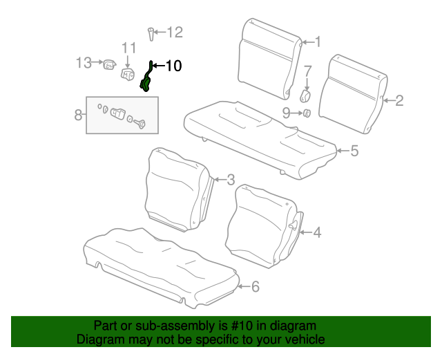 Lock Assembly, R Rear Seat
