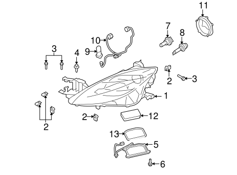 Headlamp Components For 2009 Mazda 6 Realmazdaparts Com