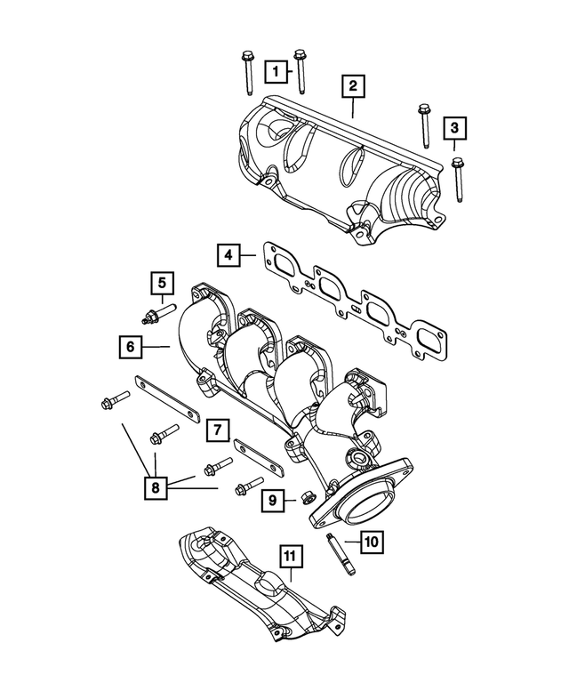 Exhaust Manifold, Left Side - Mopar (5038537AD)