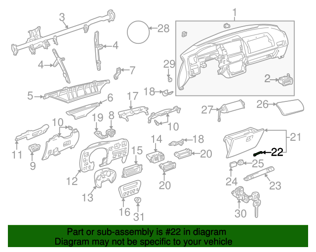 Toyota Genuine 55550-12120-01 Glove Box Door Assembly