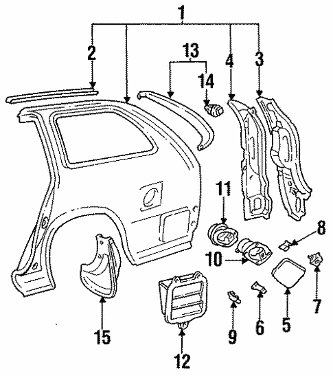 Genuine Oem Quarter Panel Components Parts For 1996 Toyota Corolla