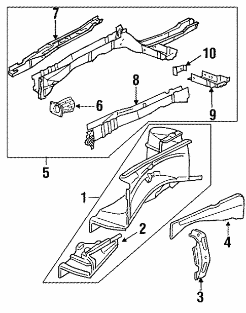 Structural Components Rails For 2001 Cadillac Catera