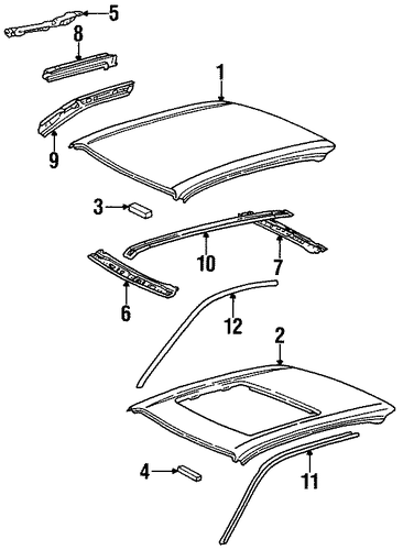 BODY/EXTERIOR TRIM - ROOF for 1997 Toyota Paseo #1