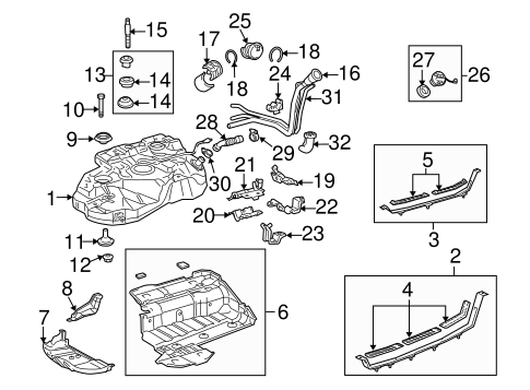 Fuel System Components for 2005 Toyota Highlander #1