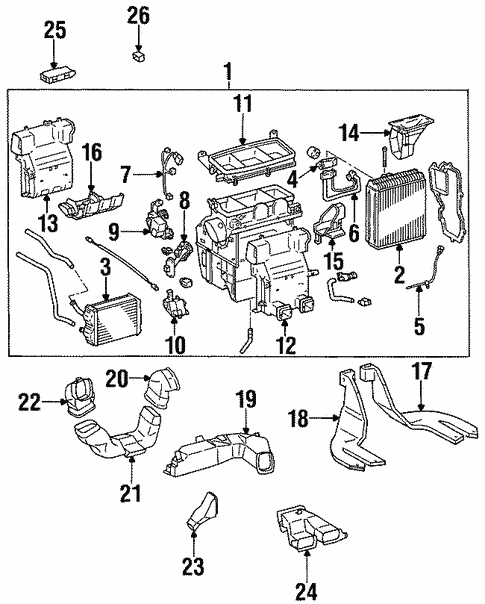 Genuine Oem Evaporator Heater Components Parts For 1999 Toyota