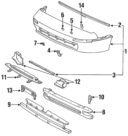 bumper & components - front for 1991 toyota mr2 | longo toyota parts  longo toyota parts