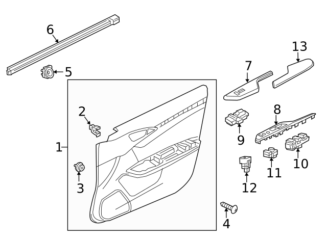 Front Right Honda Genuine 83503-T0A-A01ZB Door Armrest