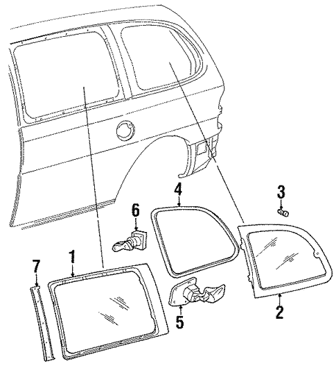 Quarter Window for 2000 Ford Windstar #0