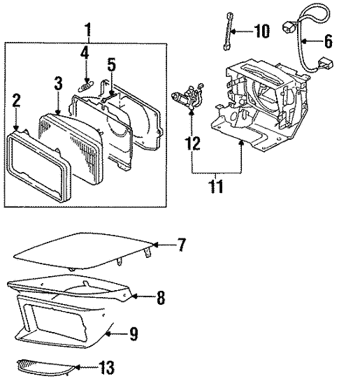 Headlamp Components For 1992 Dodge Stealth