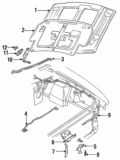 Hood Components For 1996 Ford Mustang