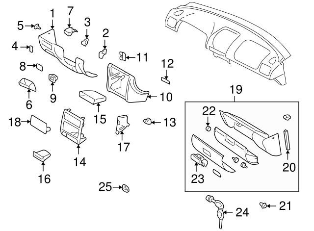 1998 2003 Subaru Glove Box Assembly Clip 66231fc030nd