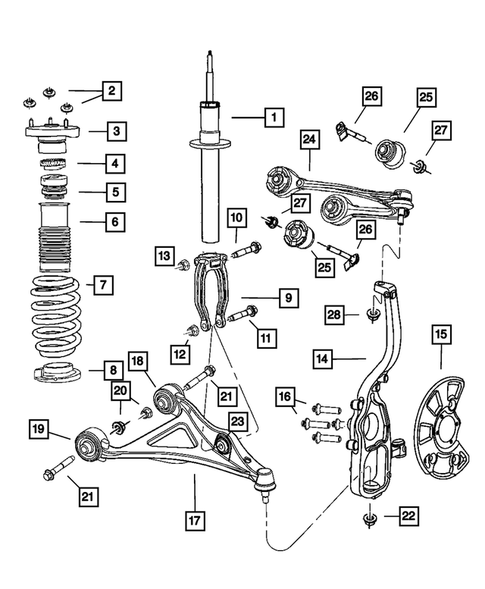 Front Suspension, Strut and Cradle for 2008 Dodge Charger #1