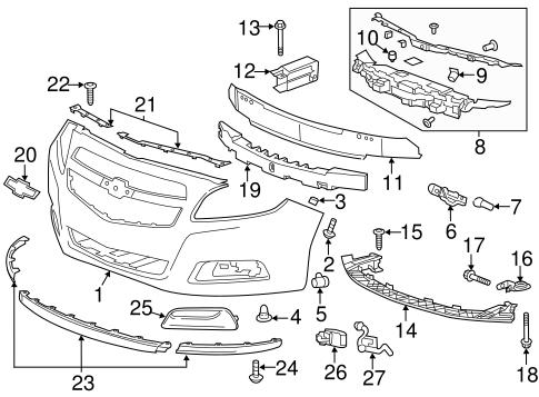 OEM 2013 Chevrolet Malibu Bumper & Components - Front Parts ...