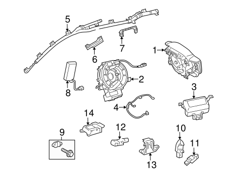 Air Bag Components for 2005 Toyota Highlander #7