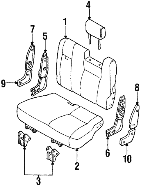Rear Seat Components for 1995 Isuzu Trooper #2