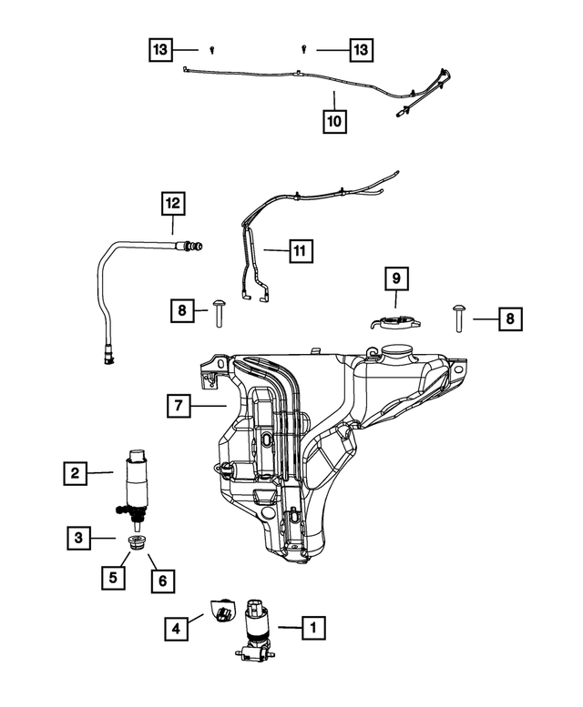 2009-2020 Dodge Journey Windshield Washer Hose 5178466AB | My Mopar Parts | 2013 Dodge Journey Engine Diagram |  | My Mopar Parts