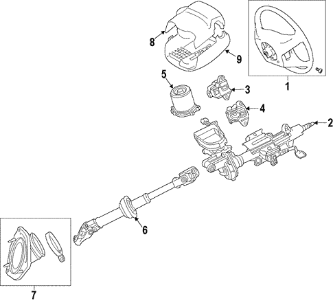 Steering/Steering Column for 2016 Toyota Highlander #1