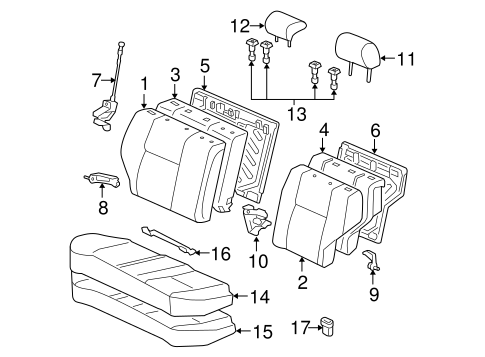 Rear Seat Components For 2008 Toyota Corolla
