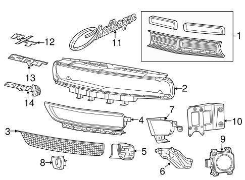 grille components for 2016 dodge challenger mopar sales direct. Black Bedroom Furniture Sets. Home Design Ideas