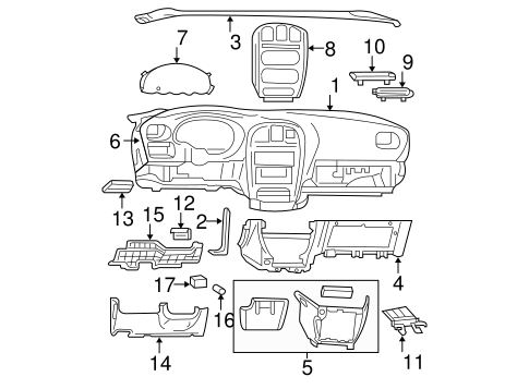 instrument panel components for 2005 dodge caravan