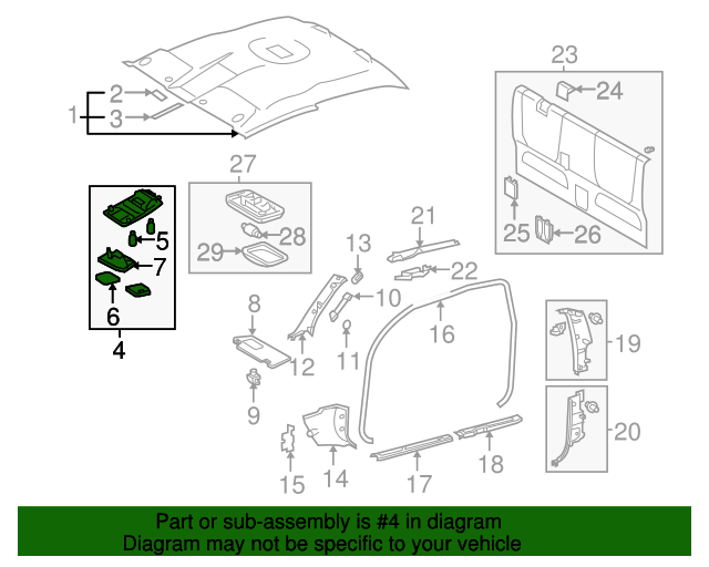 Genuine Toyota 63650-04010-B0 Roof Console Box Assembly