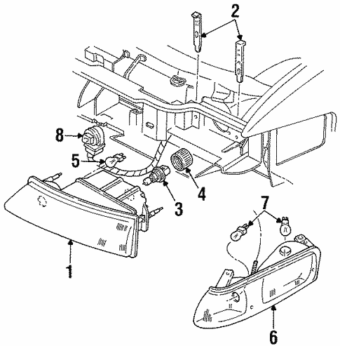 Headlamp Components For 1997 Lincoln Continental