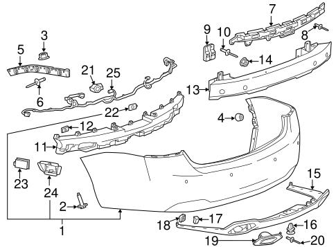 oem bumper components rear for 2016 chevrolet impala. Black Bedroom Furniture Sets. Home Design Ideas