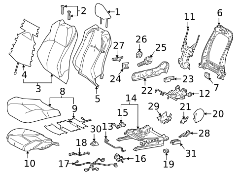 Passenger Seat Components For 2019 Toyota C Hr